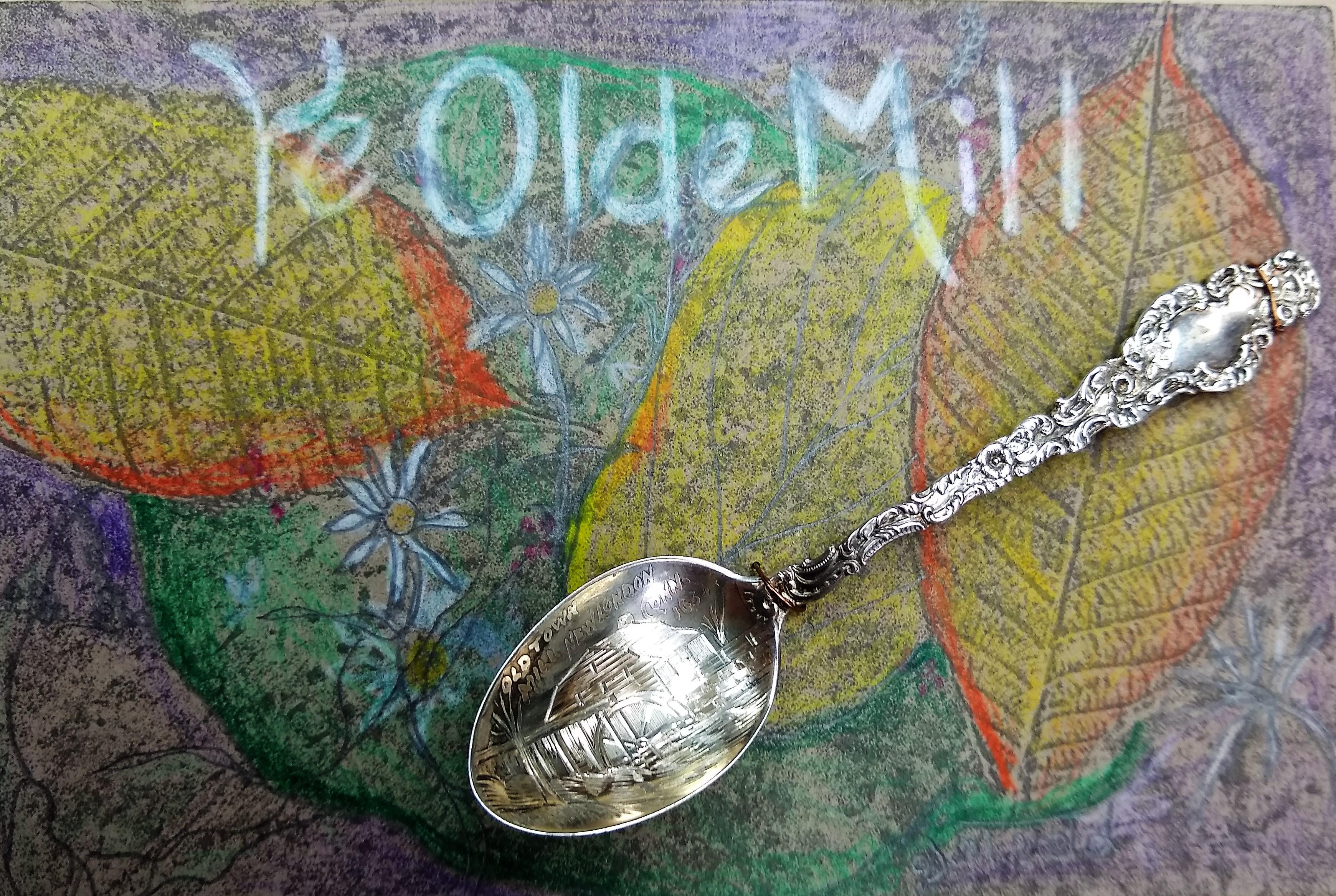Ye Old Mill, Gretchen van der Lyke, Assemblage On Hand Colored Mat, Postcard #104, $TBD