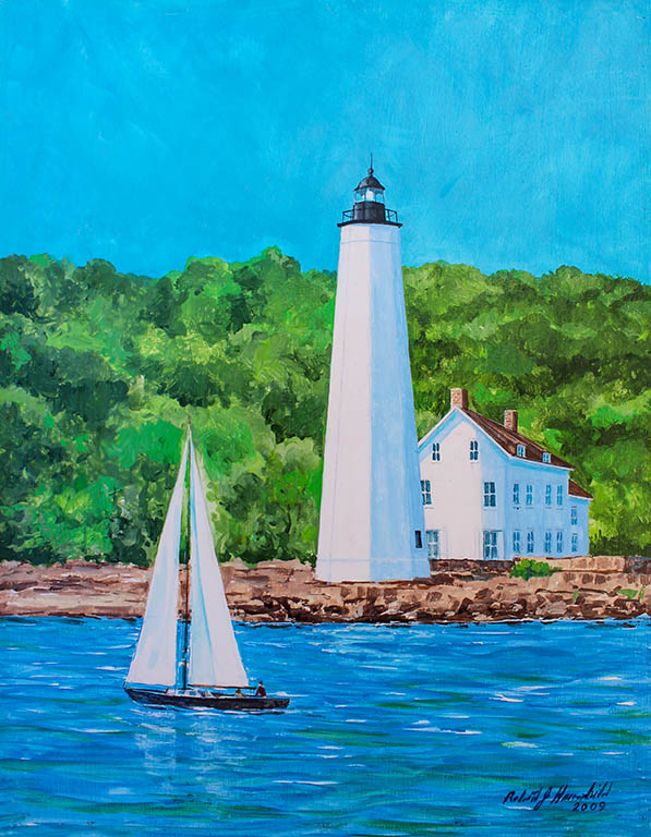 New London Harbor Light, Robert J. Hauschild, Acrylic on Panel