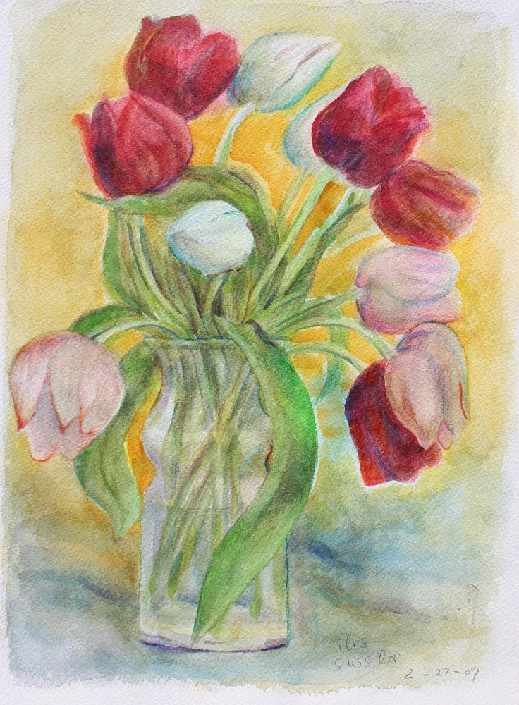 Spring Tulips, Ruth Sussler, Watercolor, 12x16, $165