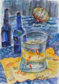 Three Little Goldfish, Ruth Sussler, Watercolor, 12x16, $165