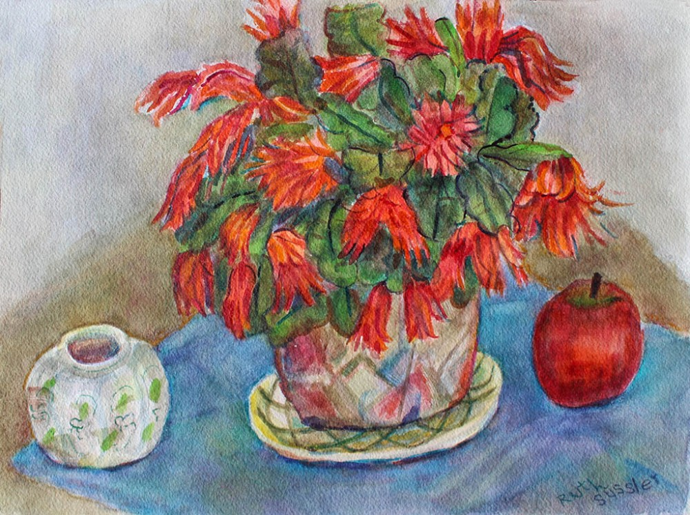 Christmas Red Cactus, Ruth Sussler, Watercolor, 12x16, $165