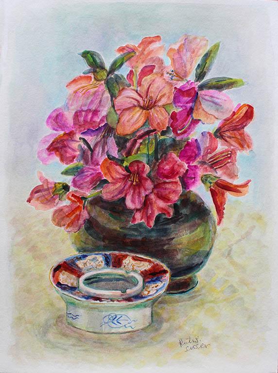 Azalea Blaze, Ruth Sussler, Watercolor, 14x18, $195