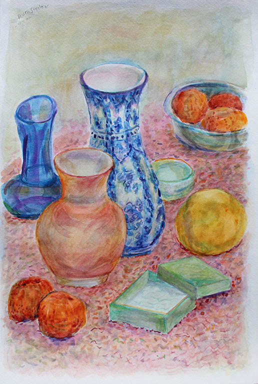 Vase & Fruit Still Life, Ruth Sussler, Watercolor, 16x20, $235