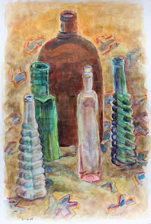 Bottles - Brown & Blue, Ruth Sussler, Watercolor, 16x20, $235
