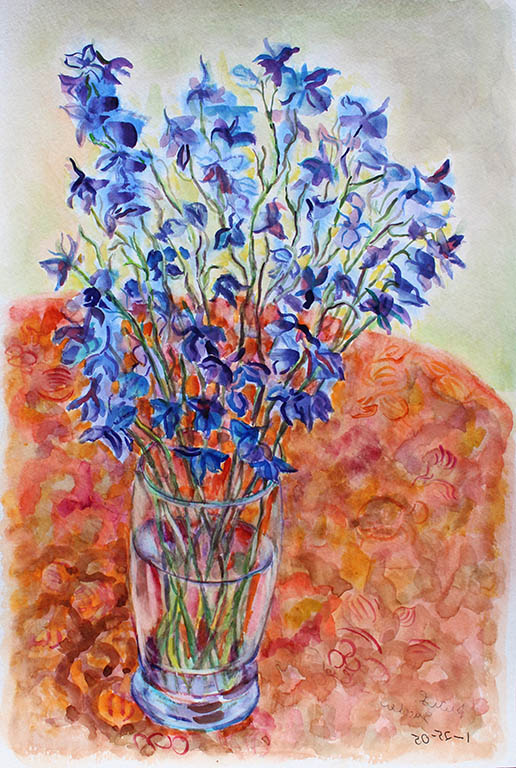 Blue Floral, Ruth Sussler, Watercolor, 16x20, $235
