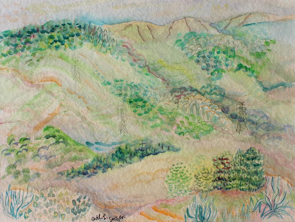 Hillside Landscape, Ruth Sussler, Watercolor, 20x16, $235