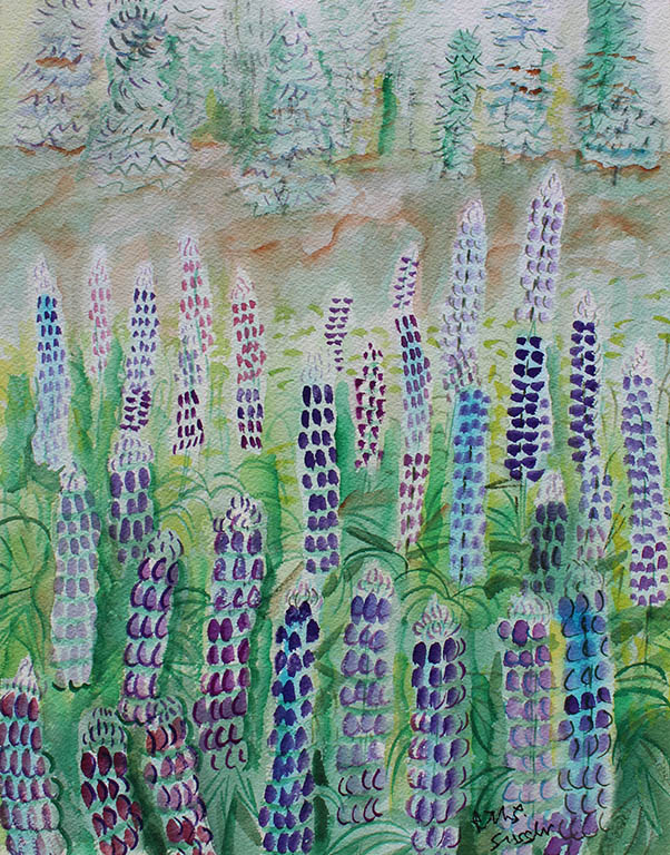 Lupine, Ruth Sussler, Watercolor, 14x18, $195