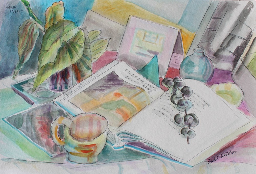 Open Books - Peach, Ruth Sussler, Watercolor, 20x16, $235