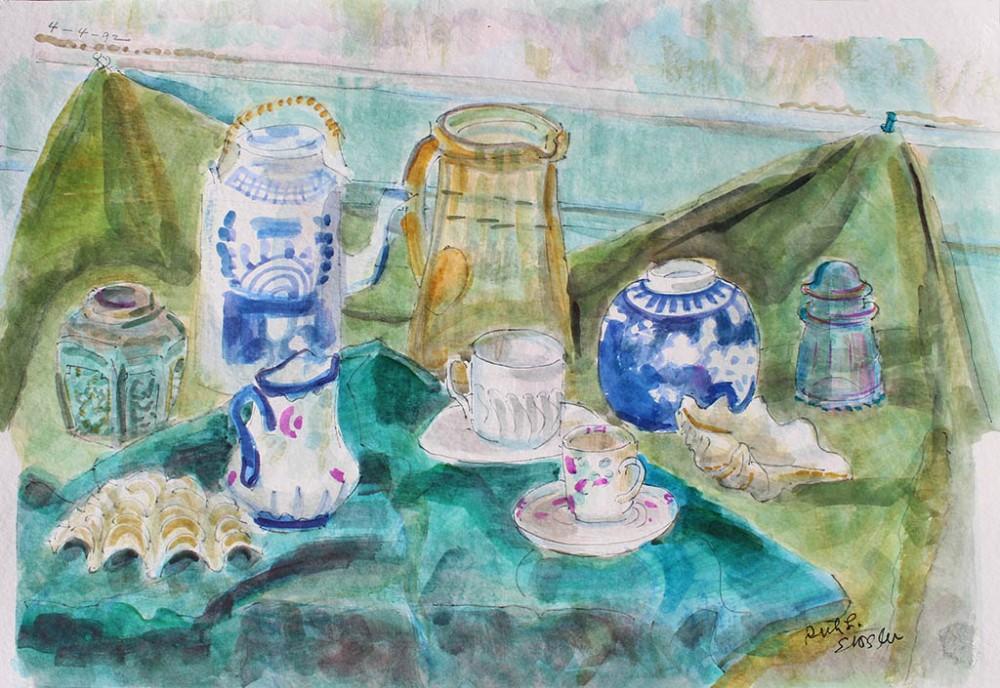 Tea Cups & Jars, Ruth Sussler, Watercolor, 20x16, $235