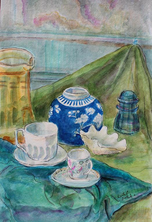 Blue Ginger Jar, Ruth Sussler, Watercolor, 16x20, $235