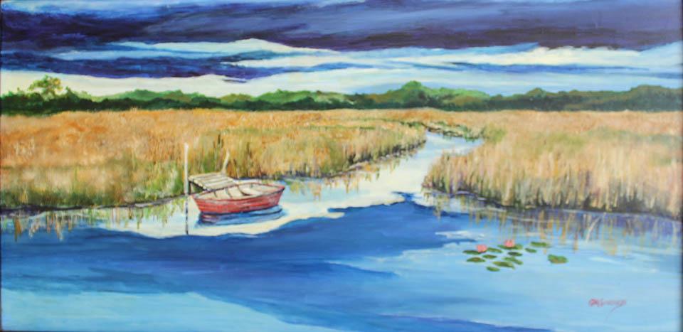 Along The Marsh, Gigi Mezzo Genovese, Acrylic, 24x12, $700
