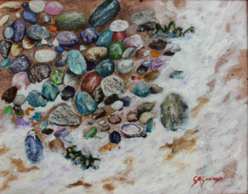Beach Stones, Gigi Mezzo Genovese, Acrylic, 14x11, $400