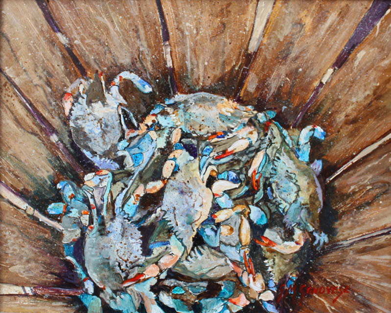 Bushel Of Blues, Gigi Mezzo Genovese, Acrylic, 10x8, $300