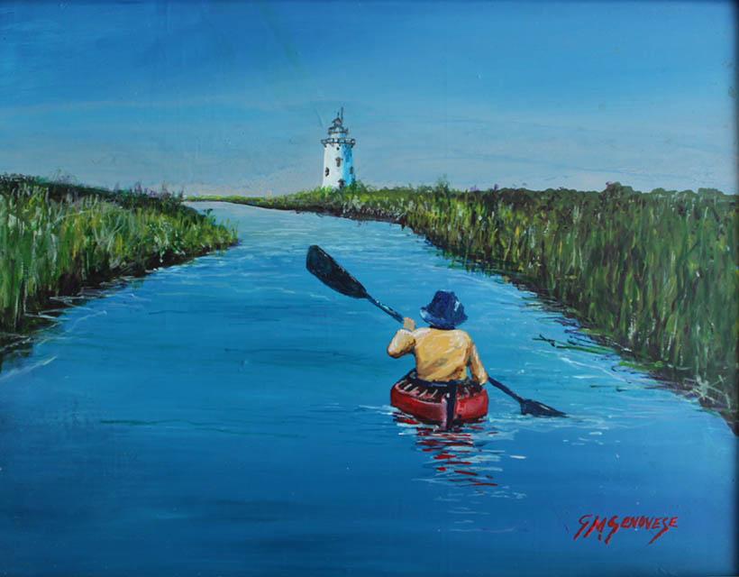 Kayaking To Saybrook Light, Gigi Mezzo Genovese, Acrylic, 11x14, $400