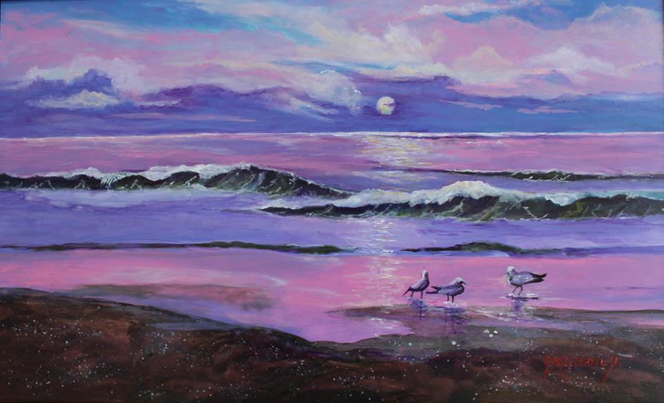 Moonlight On The Surf, Gigi Mezzo Genovese, Acrylic, 11x18, $600