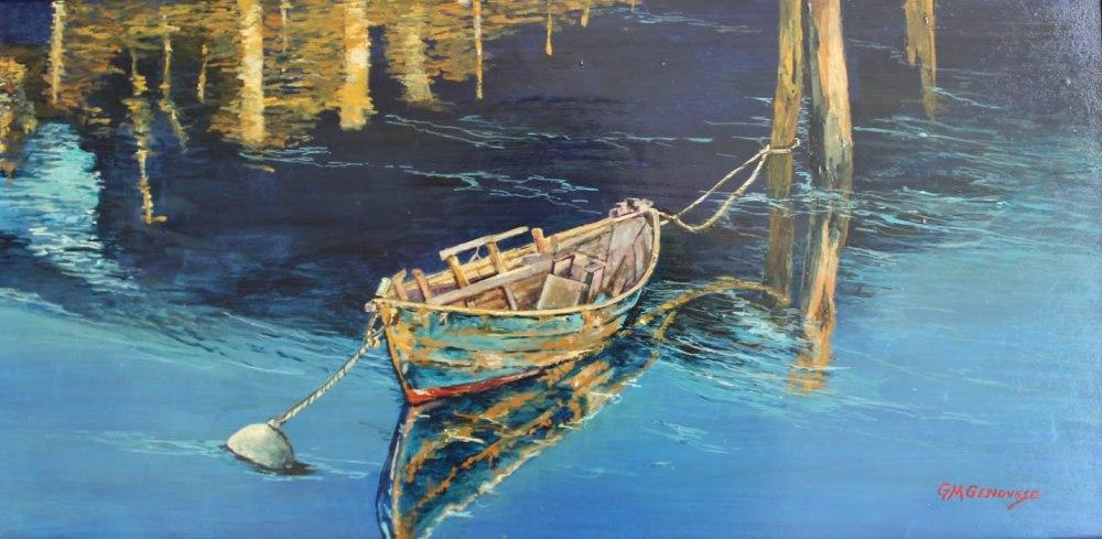 Moored, Gigi Mezzo Genovese, Acrylic, 20x10, $700