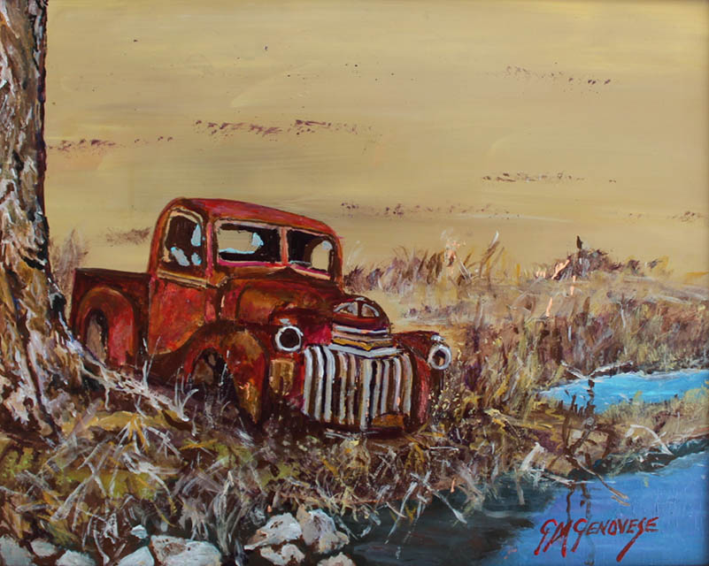 Red Truck, Gigi Mezzo Genovese, Acrylic, 8x10, $300