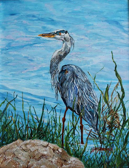 Standing Tall Blue Heron, Gigi Mezzo Genovese, Acrylic, 11x14, $400