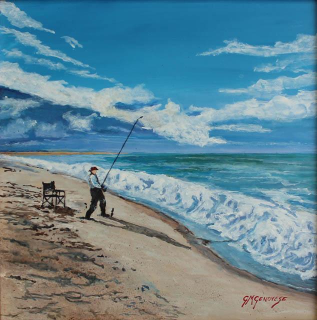 Surf Casting, Gigi Mezzo Genovese, Acrylic, 12x12, $450