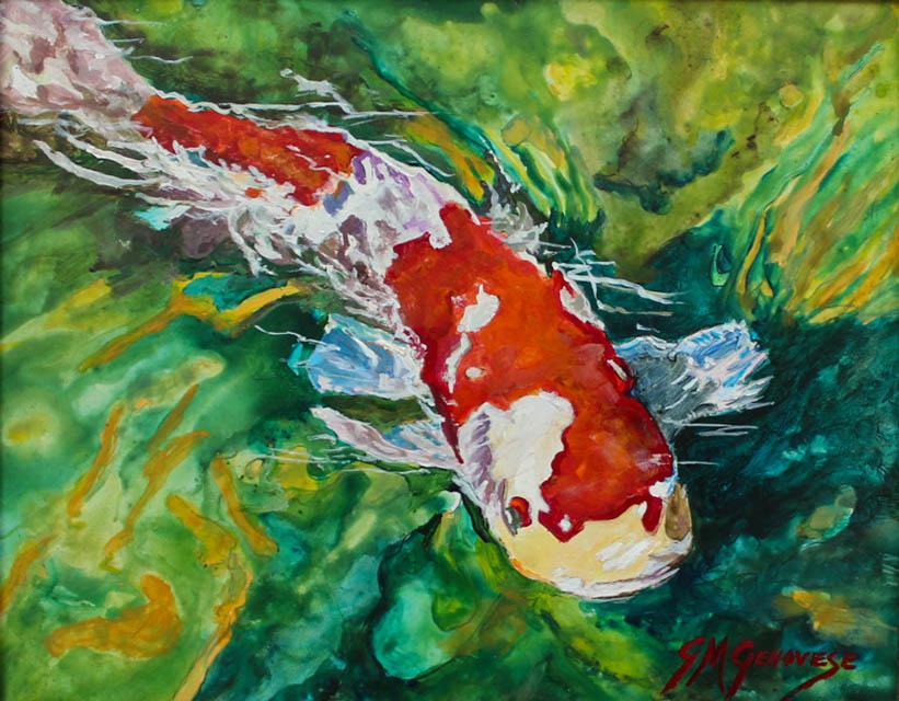 Up Close And Personal Koi Fish, Gigi Mezzo Genovese, Acrylic, 10x8, $300