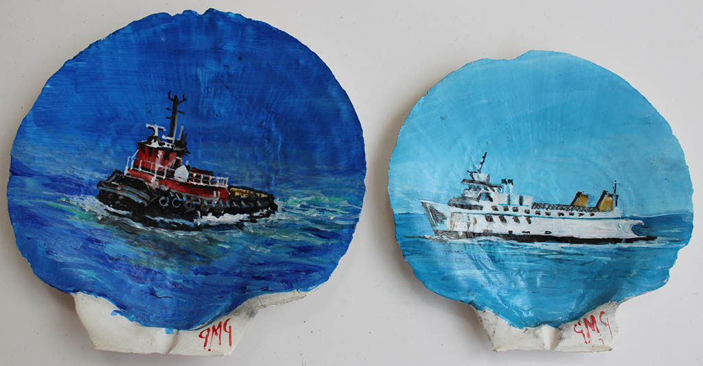 Hand painted shells by Gigi Mezzo Genovese $35. The Cross Sound Ferryboat Shell is Sold.