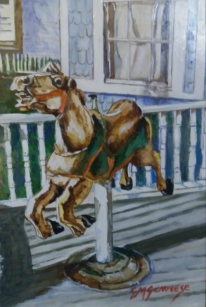 Blue Dory Inn Wooden Horse B.I., Gigi Mezzo Genovese, Acrylic, 8x10, $300
