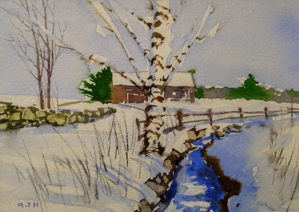Fresh Snow, Robert Hauschild, Watercolor, 8x10, $375