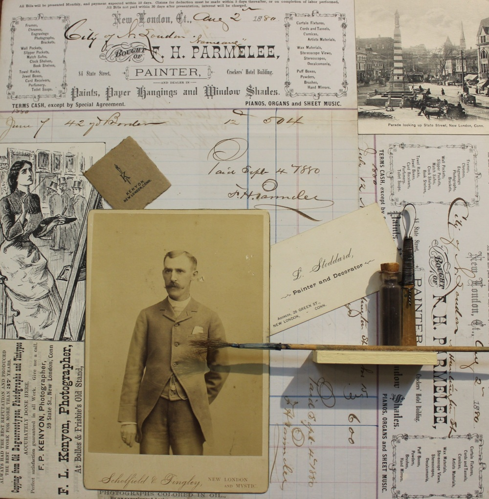 The Art Of New London, Maurene Kennedy, Assemblage/Collage, Antique Ephemera & Found Objects of New London, 12x12, $195