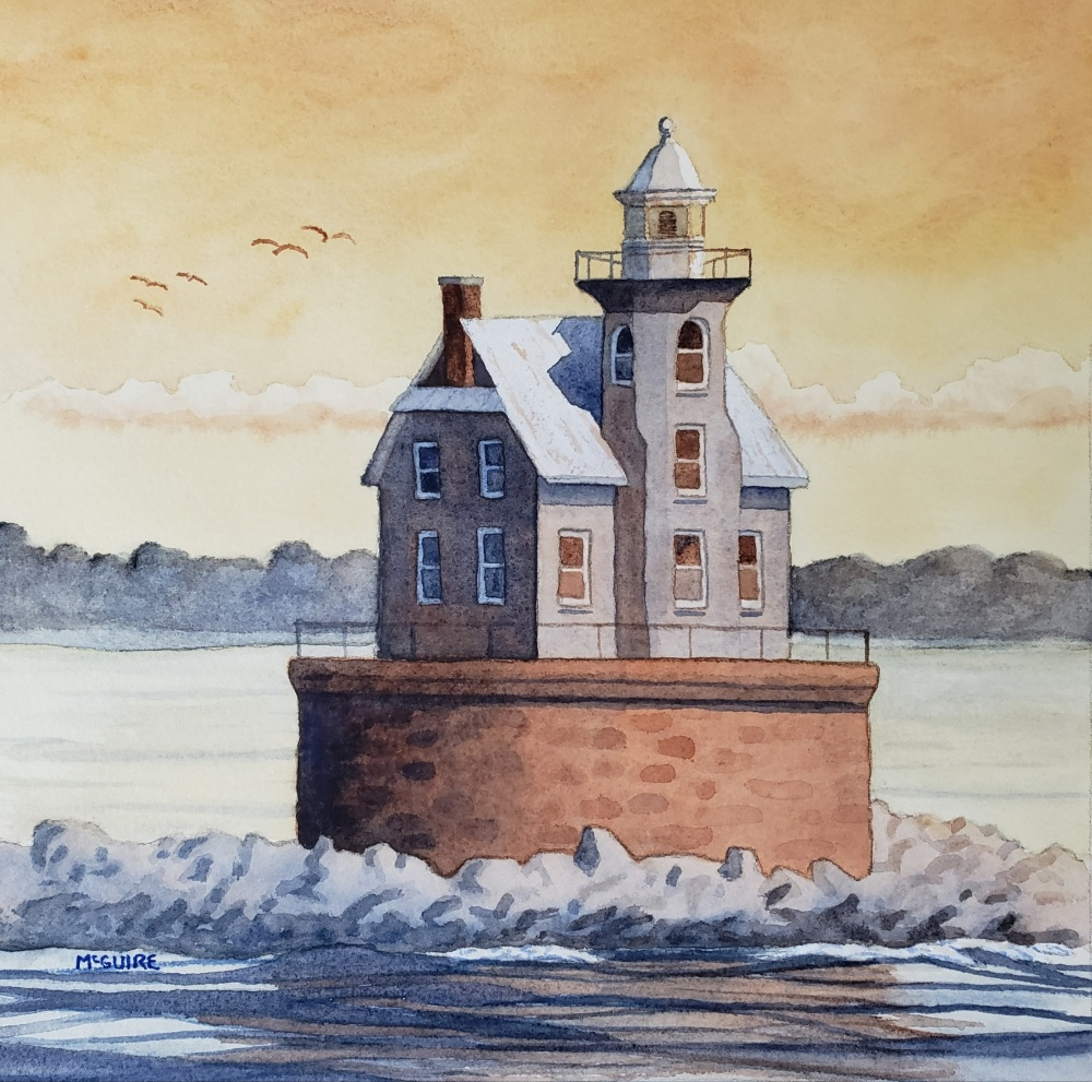 Race Rock Lighthouse, John McGuire, Watercolor, 13x13, $500