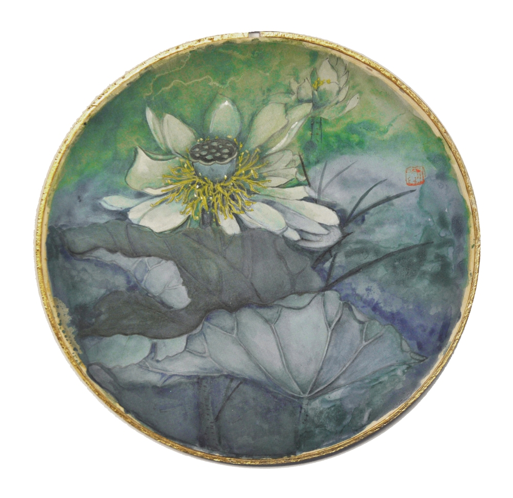 Round Silk Lotus, Juner Patnode, Mixed Media, Silk, Wood, Gold Leaf 22 kt, 12x12, $500