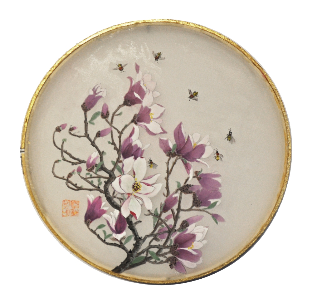 Round Silk Magnolia Flowers, Juner Patnode, Mixed Media, Silk, Wood, Gold Leaf 22 kt