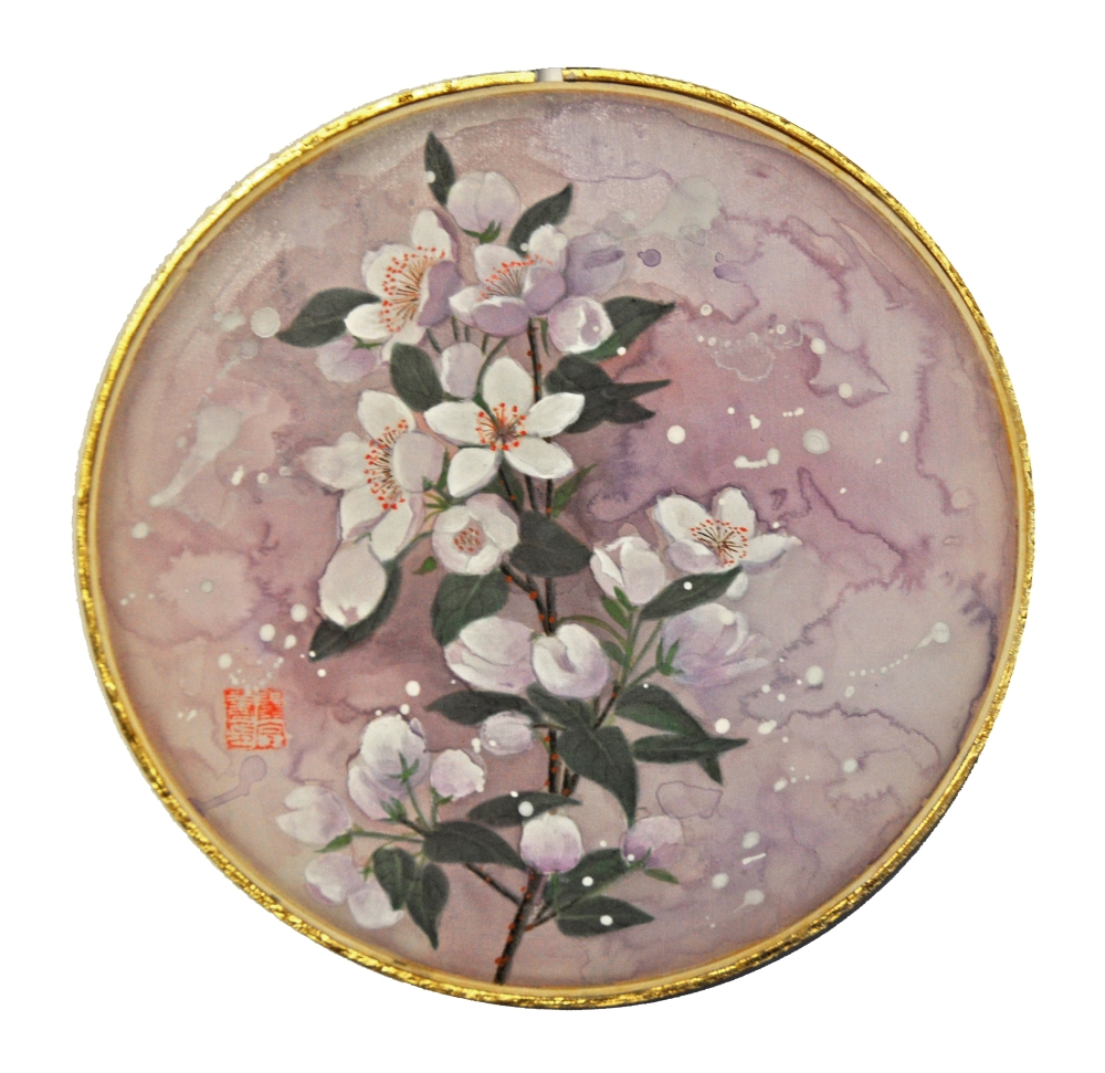 Round Silk Pear Flowers, Juner Patnode, Mixed Media Silk, Hoop, Gold Leaf 22 kt, 12x12, 800