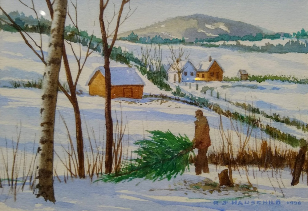 Winter Shadows, Robert Hauschild, Watercolor, 5x7, $125
