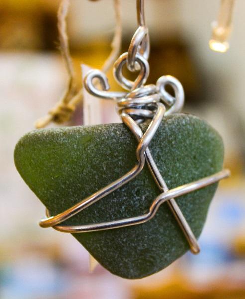 Locally sourced sea glass ornament by local artist Lori McLain