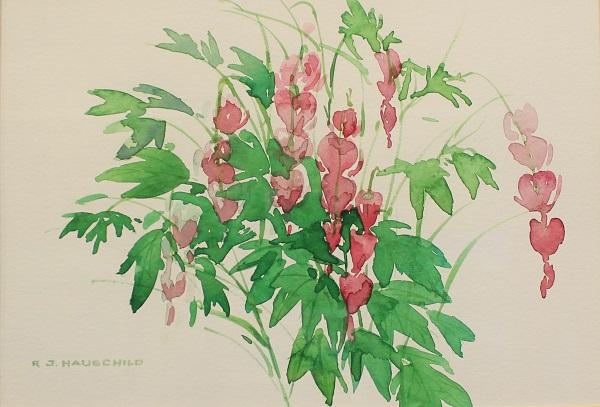 Bleeding Hearts, Robert J. Hauschild, Watercolor, 16x12, $195
