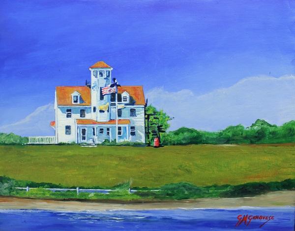 Coast Guard Station Block Island, Gigi Mezzo Genovese, Acrylic, 16x13, $400