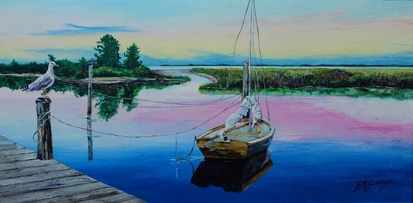 Nantucket Light Ship, Gig Mezzo Genovese, Acrylic, 16x13, $400