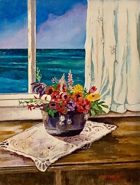 Cottage Window, Gigi Mezzo Genovese, Acrylic, 14x17, $300