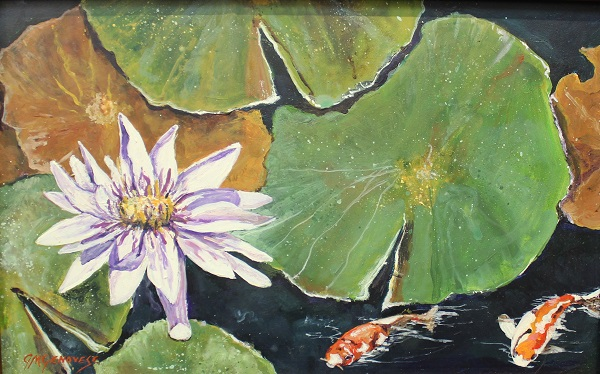Waterlily, Gigi Mezzo Genovese, Acrylic, 18x13, $400