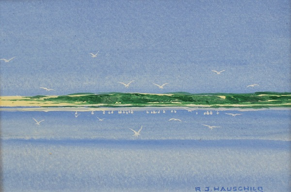 Mid Day On The Sound, Robert J. Hauschild, Watercolor, 10x9, $95