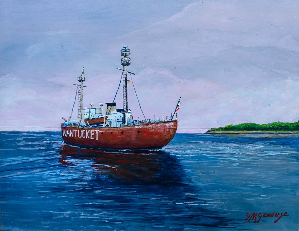 Nantucket Light Ship, Gig Mezzo Genovese, Acrylic, 16x13, $400