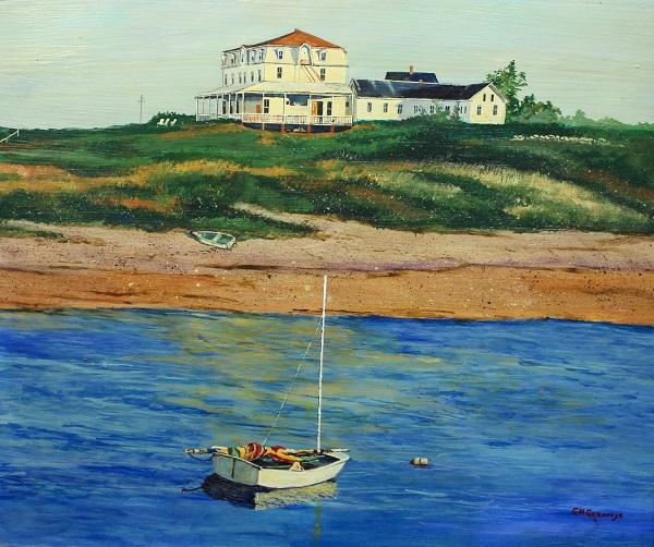Narragansett Inn Block Island, Gigi Mezzo Genovese, Acrylic, 32x28, $900