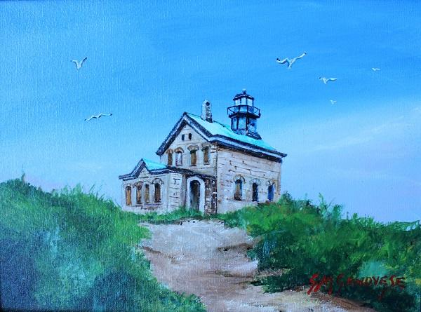 North Light Block Island, Gigi Mezzo Genovese, Acrylic, 12x9, $300