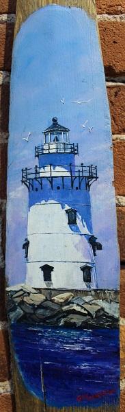 Old Saybrook Light, Gigi Mezzo Genovese, Acrylic on Wooden Oar, 6x 18, $175