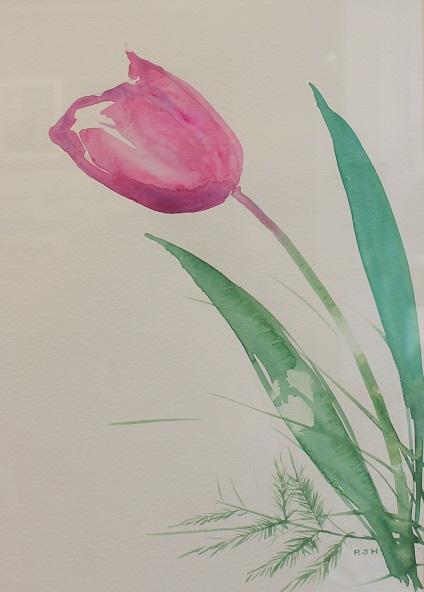 Pink Tulip, Robert J. Hauschild, Watercolor, 14x18, $195
