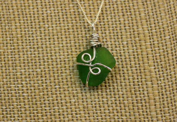 Locally sourced sea glass necklace by Lori McLain