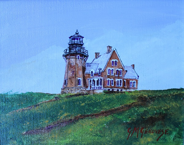 South East Light Block Island, Gigi Mezzo Genovese, Acrylic, 11x9, $300