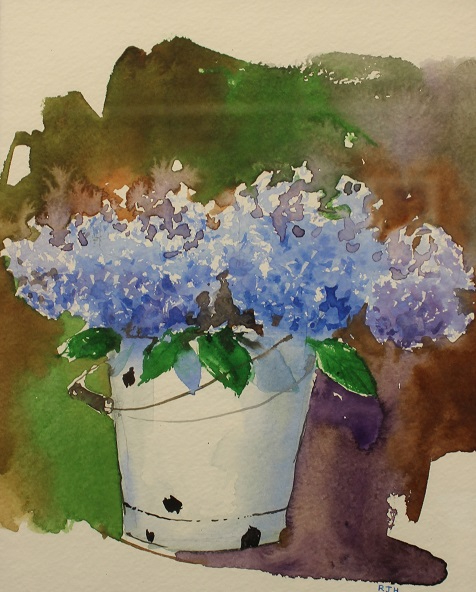 White Bucket Rhododendron, Robert J. Hauschild, Watercolor, 13x16, $195