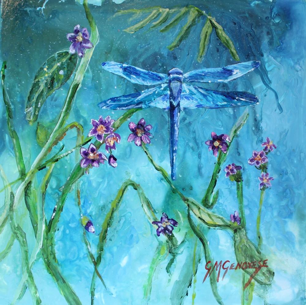 Garden Dragonfly, Gigi Mezzo Genovese, Acrylic, 8x8, $200