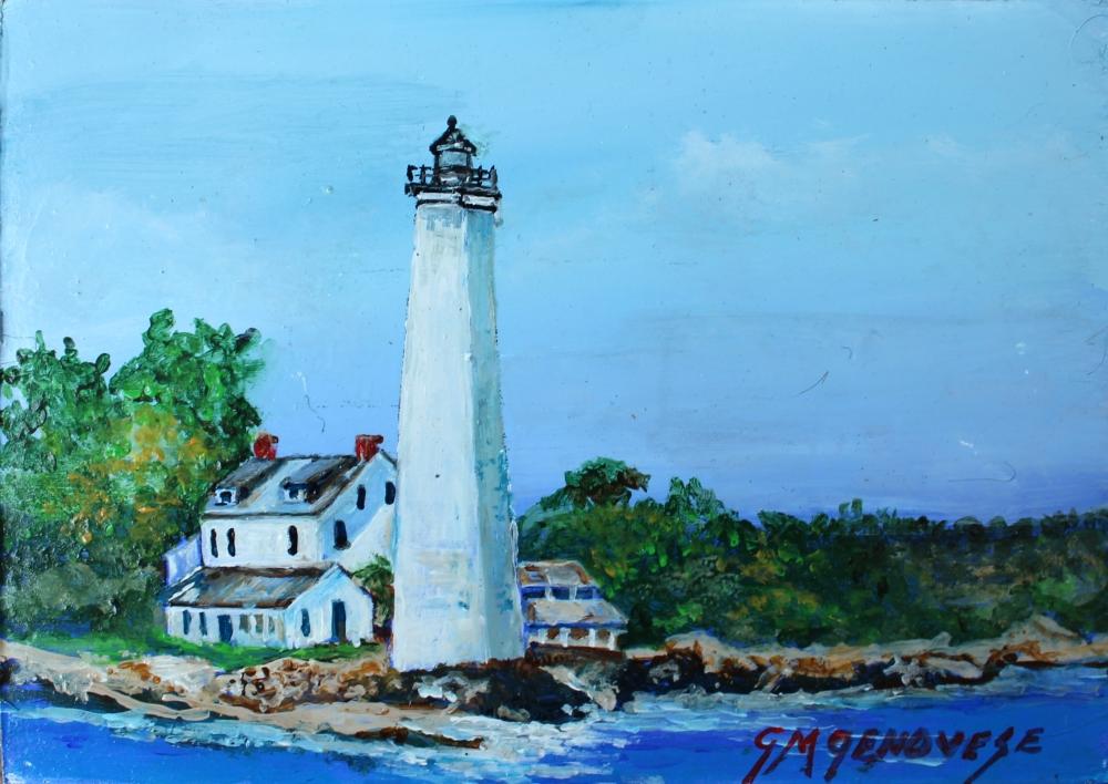 New London Harbor Light, Gigi Mezzo Genovese, Acrylic, 7x5, $150